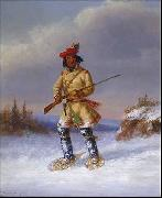 Indian Trapper with Red Feathered Cap in Winter Cornelius Krieghoff