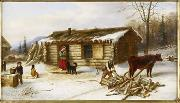 Chopping Logs Outside a Snow Covered Log Cabin Cornelius Krieghoff