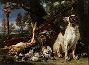 The hunter's trophy with a dog and an owl David de Coninck