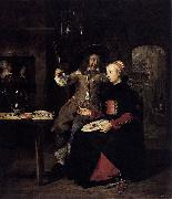 Portrait of the Artist with His Wife Isabella de Wolff in a Tavern Gabriel Metsu