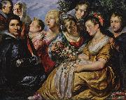Self portrait with his Family and Father-in-Law Adam van Noort Jacob Jordaens