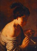 A youth blowing on coals. Jan lievens