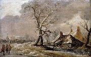 Winter Landscape with Farmhouses along a Ditch. Jan van Goyen