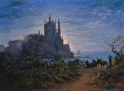 Gothic Church on a Rock by the Sea Karl friedrich schinkel