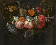 Swag of Flowers Hanging in a Niche Pieter Gallis