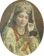 Young Lady Looking into a Mirror Vladimir Makovsky