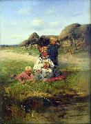 Maid with children Vladimir Makovsky