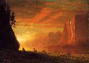 Deer at Sunset Albert Bierstadt