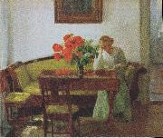 Interior with poppies and reading woman Anna Ancher