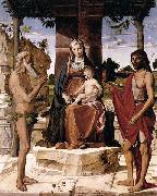 Madonna and Child under a Pergola with St John the Baptist and St Onofrius Bartolomeo Montagna