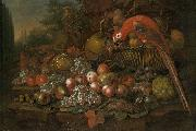 Still life with fruits and a parrot Francis Sartorius