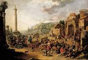 A market in an Italianate harbour with Diogenes in search of an honest man GRAFF, Anton