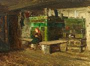 view into a Blackforest living room with small girl on the oven bench Georg Saal