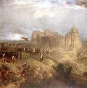 Painting by Henry Dawson 1847 of King Charles I raising his standard at Nottingham Castle 24 August 1642 Henry Dawson
