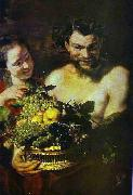 Satyr and Girl with a Basket of Fruit Jacob Jordaens