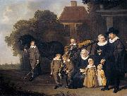 The Meebeeck Cruywagen family near the gate of their country home on the Uitweg near Amsterdam. Jacob van Loo