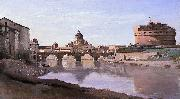 The Bridge and Castel Sant'Angelo with the Cuploa of St. Peter's Jean-Baptiste-Camille Corot
