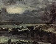 Boats on the Stour, Dedham Church in the background John Constable