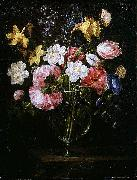 Clematis, a Tulip and other flowers in a Glass Vase on a wooden Ledge with a Butterfly Juan de Arellano