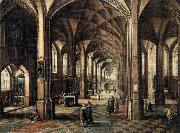Interior of a Church with a Family in the Foreground MINDERHOUT, Hendrik van