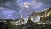 A ship wrecked in a storm off a rocky coast Pieter Meulener