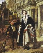 Lady waiting to cross a street, with a little boy crossing-sweeper begging for money. William Powell Frith