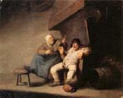 A Peasant Couple in an  interior Adriaen van ostade