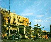 Capriccio- The Horses of San Marco in the Piazzetta Canaletto