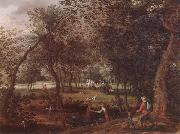 A wooded river landscape with saint john the baptist preaching inthe distance David Vinckboons