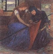 A Lady Affixing a Pennant to a Knight's Spear Elizabeth Siddal