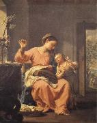 Madonna Sewing with Child Francesco Trevisani