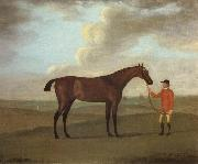 The Racehorse 'Basilimo' Held by a Groom on a Racecourse Francis Sartorius