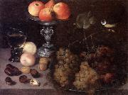 Still life of grapes on a pewter dish,together with peaches,nuts,a glass roemer and a silver tazza containing apples and pears,and a blue-tit Georg Flegel