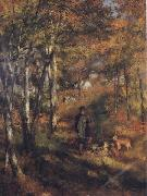 The Painter Jules Le Coeur walking his Dogs in the Forest of Fontainebleau renoir