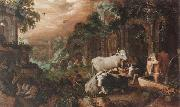 Herders resting and watering their animals by a set of ruins Roelant Savery