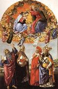 The Coronation of the Virgin with SS.Eligius,John the Evangelist,Au-gustion,and Jerome Sandro Botticelli