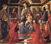 The Madonna and Child Enthroned,with SS.Mary Magdalen,Catherine of Alexandria,John the Baptist,Francis,and Cosmas and Damian Sandro Botticelli