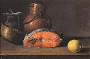 Still Life with Salmon, a Lemon and Three Vessels Luis Melendez