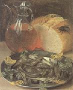 Still Life with Fish and a Flask of Wine (mk05) Georg Flegel
