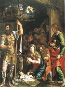 The Nativity and Adoration of the Shepherds in the Distance the Annunciation to the Shepherds (mk05) Giulio Romano