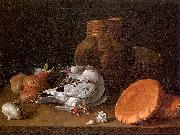 Still Life with Pigeons, Onions, Bread and Kitchen Utensils MELeNDEZ, Luis