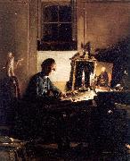 Self-Portrait While Engraving Paye, Richard Morton
