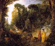Gathering by the Fountain of Neptune WATTEAU, Antoine