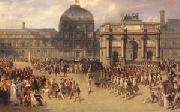 A Review Day under the Empire in the Cour de Carrousel near the Tuileries Palace (mk05) joseph-Louis-Hippolyte  Bellange