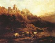 Herd of Cattle Resting on a Riverbank in Front of a Castle (mk22) Jenaro Perez Villaamil