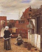 A Woman and her Maid in a Coutyard (mk08) Pieter de Hooch