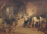 A country blacksmith disputing upon the price of iron,and the price charged to the butcher for shoeing his pony (mk310 William Turner