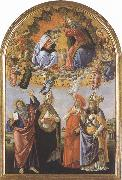 Coronation of the Virgin,with Sts john the Evangelist,Augustine,jerome and Eligius or San Marco Altarpiece (mk36) Sandro Botticelli