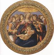 Madonna and Child with six Angels or Madonna of the Pomegranate (mk36) Botticelli