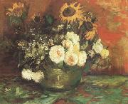 Bowl with Sunflowers,Roses and other Flowers (nn040 Vincent Van Gogh